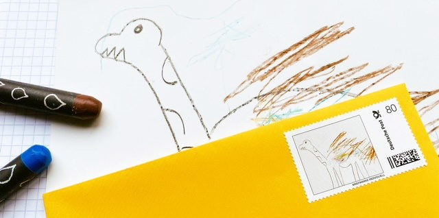 Wie kommt der Dino auf die Briefmarke?